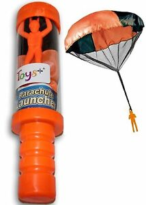 Toys+ Skydiver Parachute Man with Launcher Container Tangle Free (Colors and...