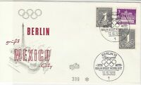 Germany Berlin 1968 Mexico City Olympics Rings Slogan Cancel Stamps CoverRf24440