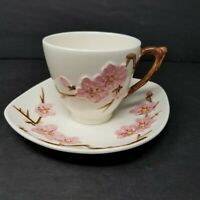 Vintage 50s Metlox Poppytrail Pink Peach Blossom Cup & Saucer