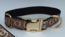 """Dog Collar 10"""" - 14"""" neck size.  FREE FABRIC DESIGN Gold Metal Buckle"""