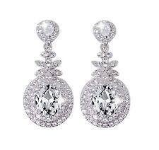 Bella Krystal Rhodium Plated Swarovski Crystal Drop Earrings 5cm bridal wedding