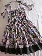 ladies sweet cotton lace layered lolita purple dress