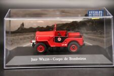 Altaya 1:43 Jeep Willys Corpo De Bombeiros Diecast Models  Collection Red