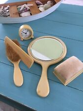 Bakeilite Plastic Hand Mirror, Hairbrush, Comb, Container and Clock