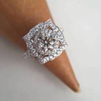 Round Cut DVVS1 Diamond Vintage Engagement Wedding Ring 14k White Gold Fn