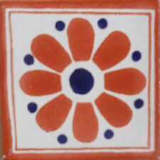 #C106) Mexican Tile sample Ceramic Handmade 4x4 inch, GET MANY AS YOU NEED !!