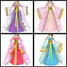Barbie muñeca flor impresa artesanal Vestido de novia vestido de moda de la rFWS