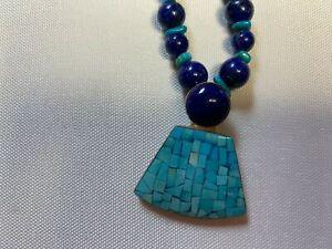 EUC Jay King Blue Lapis Beads/Turquoise Pendant Necklace