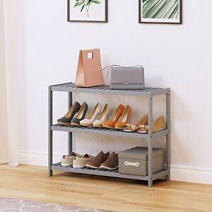 Retro Modern Shoe Bench Rustic Hallway Unit Wooden Storage Tier Shelf Rack