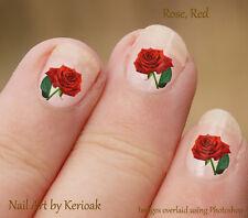 Uñas flor, rosa roja, Conjunto de 24 Pegatinas Calcomanías, Floral, romance, amor