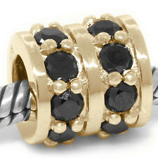 1.60ct Black Diamond Girlfriend 9ct 9K Solid Gold Bead Charm FIT EURO BRACELETS