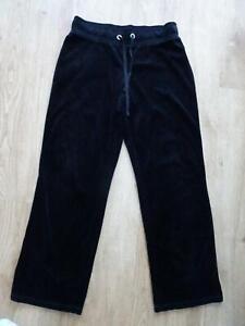 M&S ladies black velour tracksuit jogger trousers UK 12 MEDIUM EXCELLENT