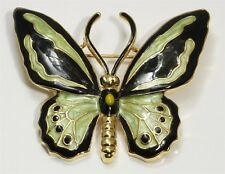 Vintage Ornate Gold Tone Black & Green Enamel Monarch Butterfly Brooch Pin