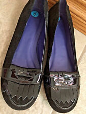 GAP WOMENS BLACK MOCASSIN PENNY LOAFERS SUEDE LEATHER FLATS SHOES sz 6 Bx32
