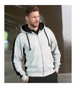 Gent's Full Zip Men's Hooded Sweatshirt Top Kangaroo Pocket Jacket LV330