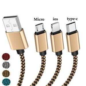 1-3M Braid Fast Charger Data Sync Cable For iPhone 6 7 8 2A IOS Micro USB Cable