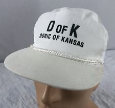 Vtg Doric Of Kansas Hat Snapback Cap White Funeral Supplies Burial Vaults D Of K