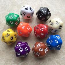 6pcs Acrylic Dice D20 Random Color Polyhedral Dice Set 20 Sided Lot Game D&D RPG