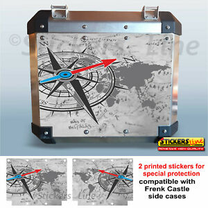 Adesivi valigie Frenk Castle sfondo mappa BMW KTM GUZZI HONDA ecc bags stickers
