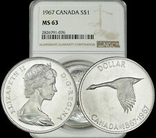 1967 CANADA GOOSE SILVER $1 DOLLAR NGC MS63 BU UNCIRCULATED COIN IN HIGH GRADE