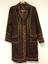 Womens Long Jacket Outwear Embroidered Flower Parka Trench Coat Wool Blend Sz:M