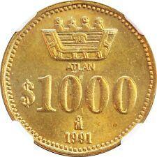 Mexico 1000 Pesos 1991  ATLAN Pattern, KM# Pn249. NGC MS66 (031)