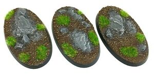 Rocks - Oval Resin Bases 60mm - 3 Painted/Unpainted Bases for Warhammer