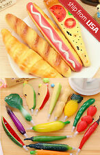 Lot 4 Novelty Fake Food Bread Vegetable Pizza Ball Point Pens Cute Fridge Magnet