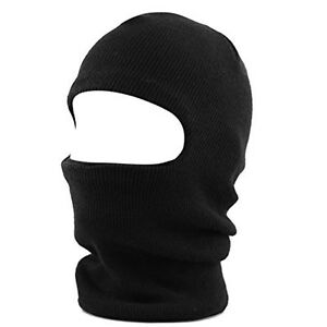 Face Mask Ski Winter Hat 1 One Hole Balaclava Hood Beanie Tactical Warm Black