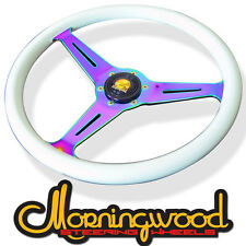 "MORNINGWOOD WHITE/NEO CHROME STEERING WHEEL 350MM/14"" DEEP DISH CLASSIC P10"
