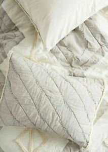 SET TWO (2) Anthropologie Tufted Banksia Standard Shams Pillowcases Gray NWT