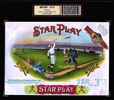 Star Play - 1911 Baseball 100+ year old ORIGINAL EX RARE Cigar Box Label #0563