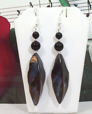 """Black Onyx Pearls & Shell Beads Exquisite Earrings, Silver Plated, 3"""".SHER004"""
