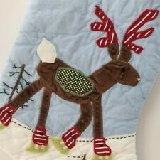 Large Pottery Barn Kids Reindeer Quilted Christmas Stocking ~ Blank (no name)