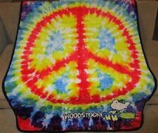 New Woodstock Tie Dye Peace Sign Thick Plush Throw Gift Blanket Festival Logo