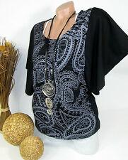 Early 20 - Tunika Shirt mit kurzen Fledermausärmeln Bluse schwarz 40 42