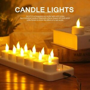 12PCS Rechargeable Led Candle Flameless Tea Light Electric Wedding Church Table