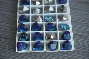 Bermuda Blue Swarovski 15.4x14mm Heart Shape Rhinestones #4800, 12 pieces -R162