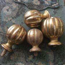 4 Boules Bois Doré Feuille d'Or XIXè NAPOLEON III Victorian Wooden Gilded 19th C