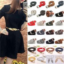 Ladies Womens Weaved Waist Belts Skinny Braided Woven Elastic Thin Waistband US