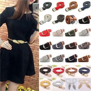 Women Long Elastic Woven Narrow Waist Belt Skinny Braided Dress Jeans Waistband