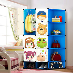 Kids Wardrobe Childrens Storage Boxes Character Design Cube Shoes Corner Storage