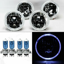 "FOUR 5.75"" 5 3/4 Round Clear Glass White Halo Headlights w/ Bulbs Set Mercury"