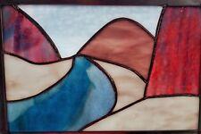 Handmade Stained Glass Mountain Stream Framed Art Scene Wall Hanging Nature