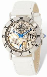 Ladies Charles Hubert Stainless IP-plated Leather Band 35mm Handwind Watch