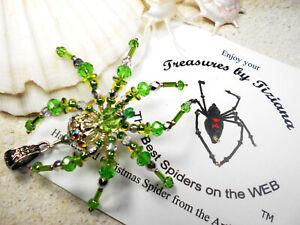 TreasuresbyTiziana® Swarovski Peridot August Birthstone Spider Pendant Charm