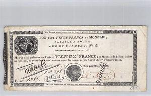 Caisse d'échange de Rouen 20 Francs An 12 n° 1387 Pick S 245 b