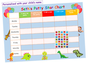 POTTY TRAINING Reward Chart Personalised Girls Boys FREE Star Stickers Dinosaurs