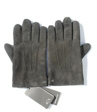 Armani Exchange AIX Black Genuine Goatskin Suede Leather Gloves, Size L/XL