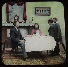 Glass Magic Lantern Slide VICTORIAN FAMILY AT TABLE NO2 C1890 PHOTO STORY SOCIAL